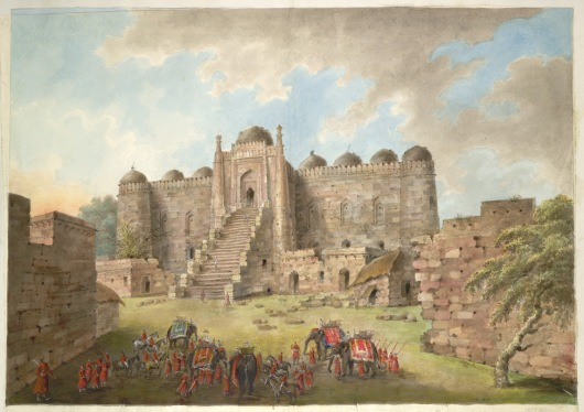 the-entrance-courtyard-and-east-facade-to-the-kalan-masjid-lady-hastings-party-in-the-foreground_-a-watercolor-by-seeta-ram-1814-15